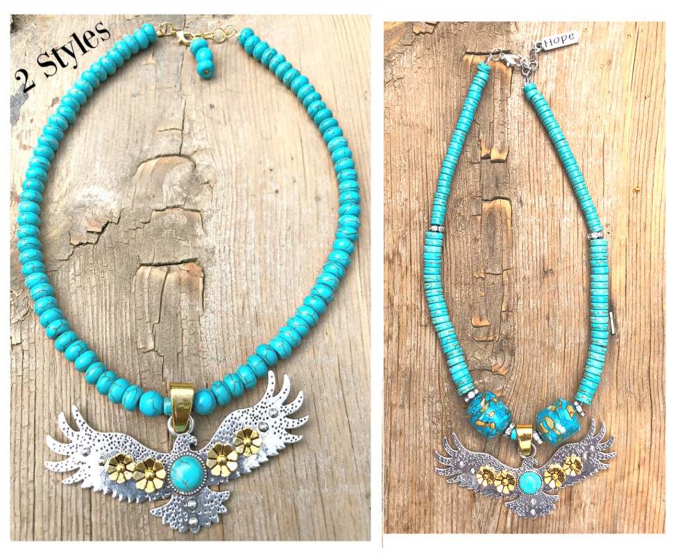 INTO THE SKY NECKLACE Custom Silver & Gold Plated Large Eagle Pendant Turquoise Beaded Rhinestone Necklace  2 STYLES