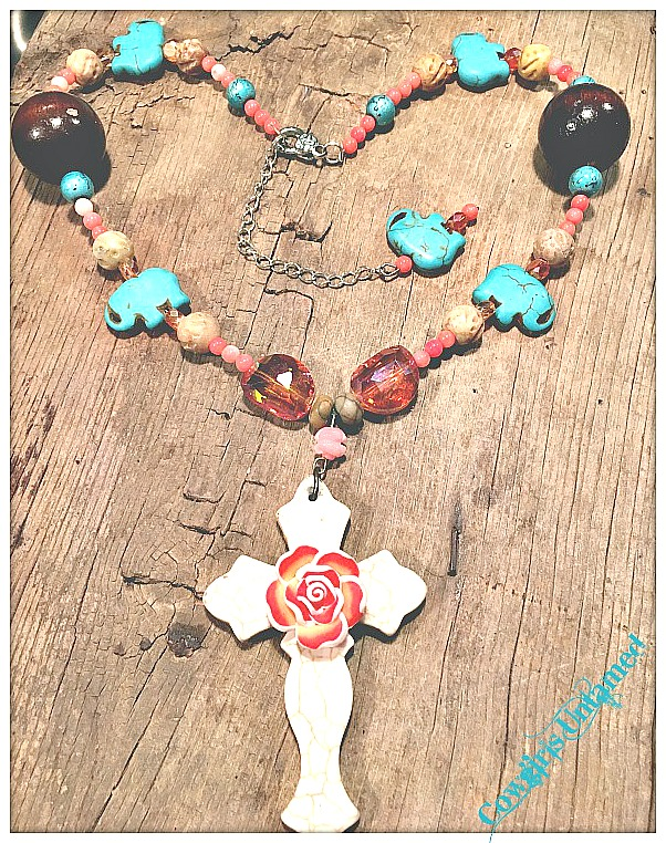 COWGIRL GYPSY NECKLACE Rose Accent Ivory Turquoise Cross on Coral Turquoise Jasper Crystal Boho Necklace FREE BRACELET
