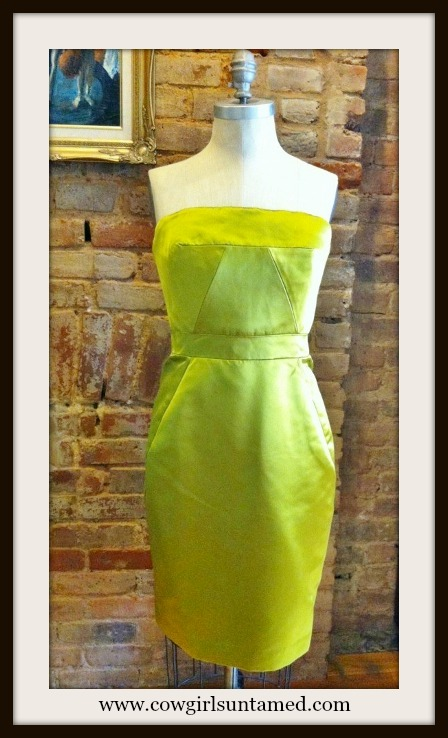 COWGIRL GLAM DRESS Lime Green Satin Corset Style Pencil Skirt Designer Dress