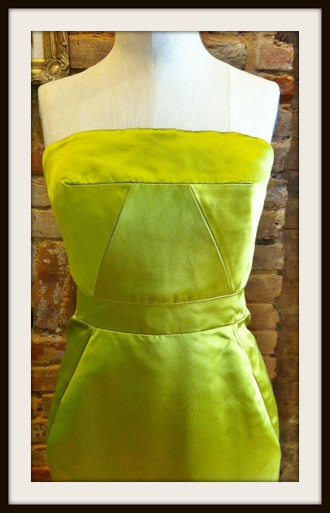J Crew Duchesse Satin Chartreuse Fitted Corset With Boning