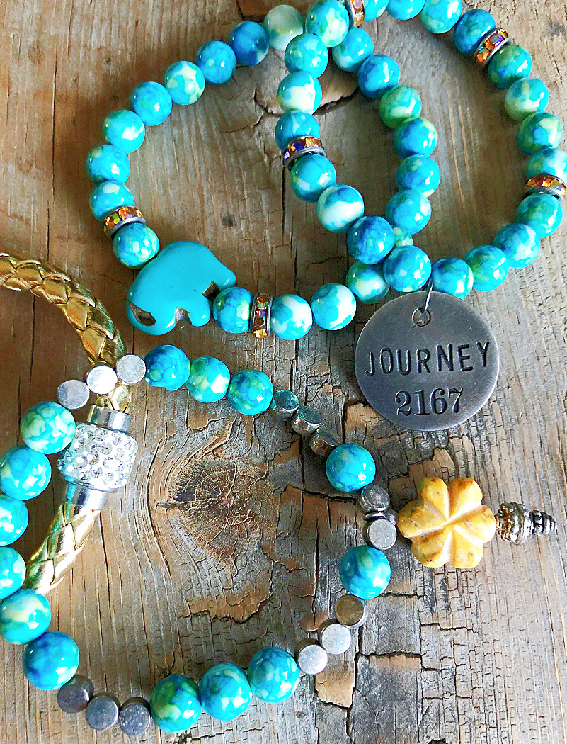 "JOURNEY BRACELET SET of 4 Silver ""Journey"" Yellow Flower & Elephant Beaded Charm Bracelet Set"