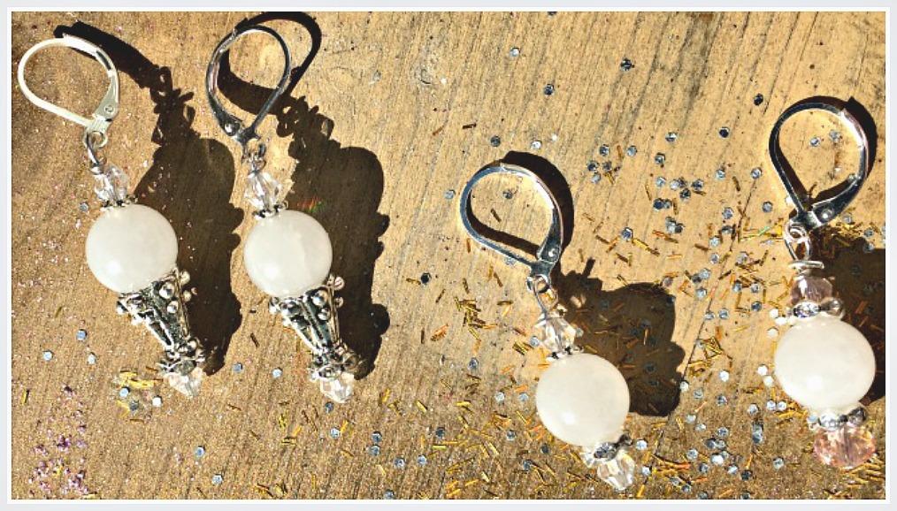 WILDFLOWER EARRINGS  White Jade & Crystal Boho Chic Earrings 2 STYLES