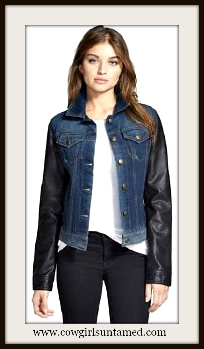 DESIGNER JACKET Faux Leather Sleeve Blue Denim Designer Jacket