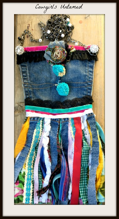 BOHEMIAN COWGIRL MESSENGER BAG Lace & Ribbon Fringe Rhinestone Embellished Upcycled Jean Messenger Bag