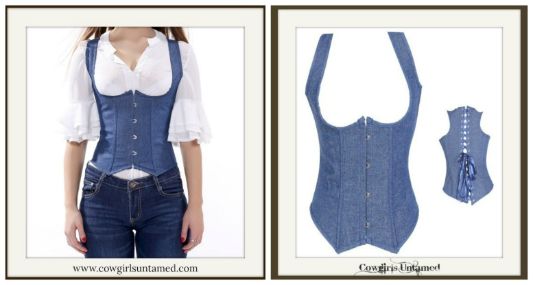 CORSET - Jean Underbust Lace Up Back Halter Style Western Corset Bustier Top Shirt