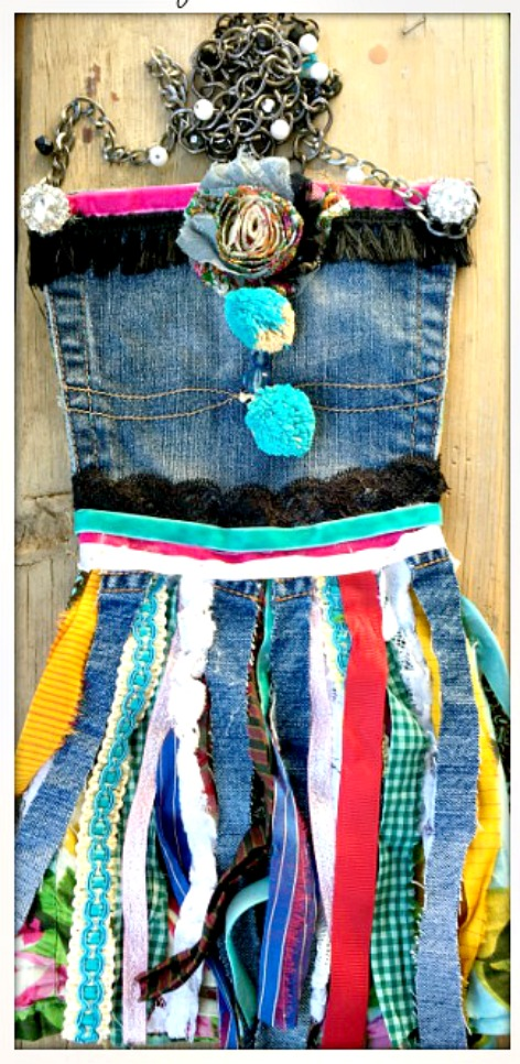 BOHEMIAN STYLE BAG Lace & Sari Ribbon Fringe Rhinestone Embellished Upcycled Jean Messenger Bag