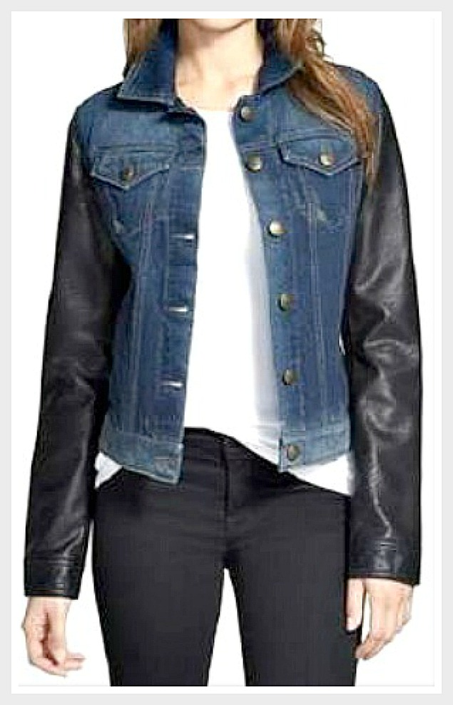DESIGNER JACKET Faux Leather Sleeve Blue Denim Designer Jacket LAST ONE Medium