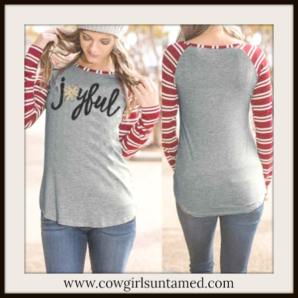 "WINTER TIME TOP ""Joyful"" Red Striped Long Sleeve Top"