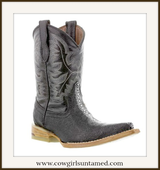 LITTLE COWBOY BOOTS Black Genuine Leather and Stingray Pointed Toe Boots