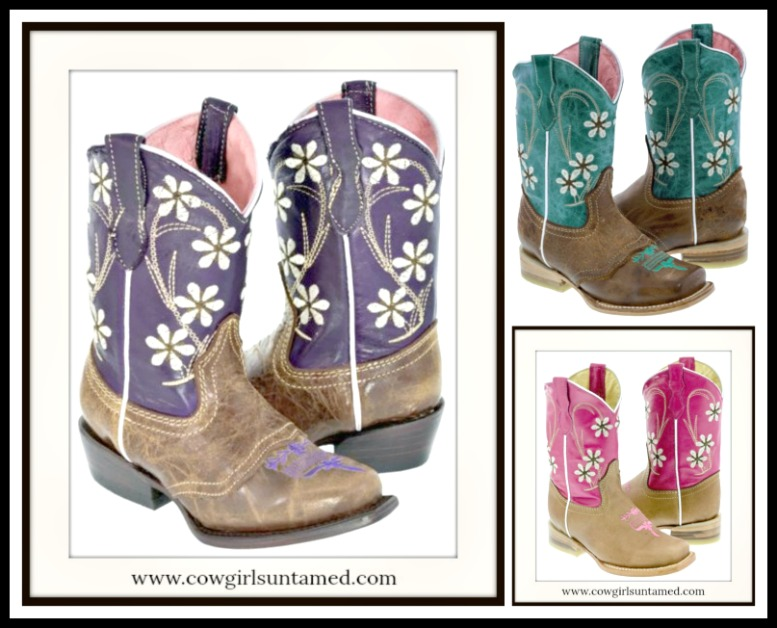 LITTLE COWGIRL BOOTS White Floral Embroidery on Genuine Leather Cowgirl Boots