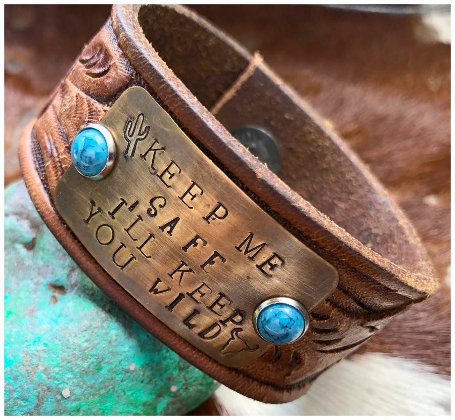 "COWGIRL ATTITUDE CUFF ""Keep Me Safe I'll Keep You Wild"" Turquoise Studs Brown Vintage Tooled Leather Belt Cuff Bracelet LAST ONE"