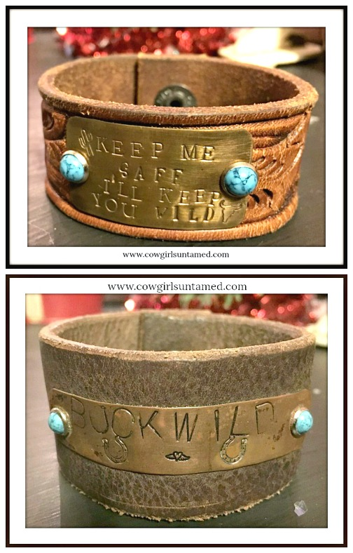 COWGIRL ATTITUDE CUFF Turquoise Studs on Brown Leather Cuff Bracelet  2 DESIGNS