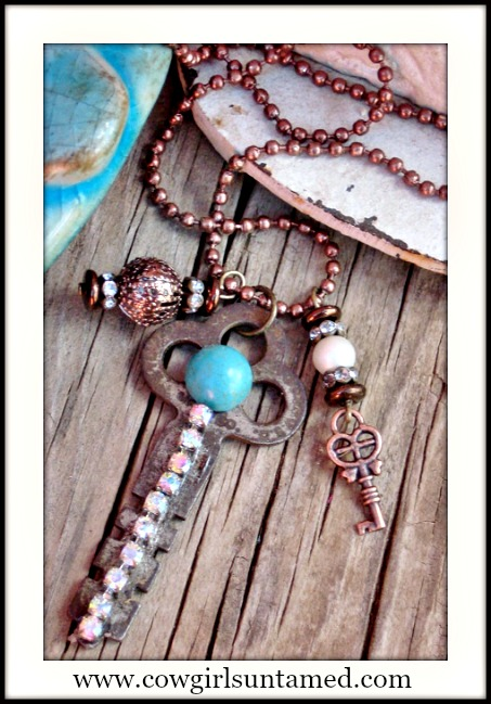 COWGIRL JUNK GYPSY NECKLACE Rhinestone & Turquoise Antique Key Charm Necklace
