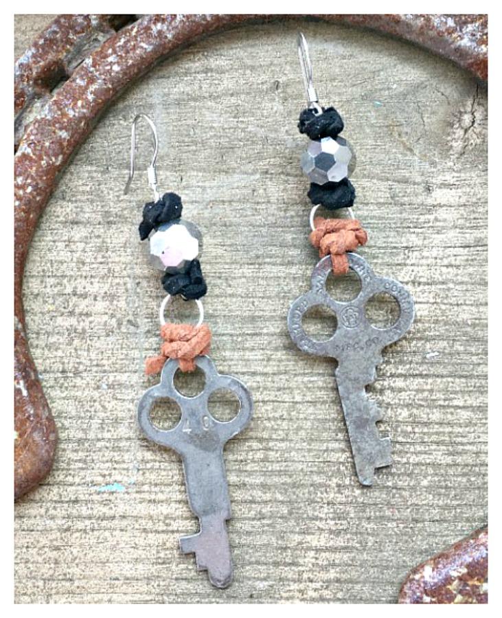 JUNK GYPSY EARRINGS Antique Keys Brown & Black Leather Accents Crystal Earrings