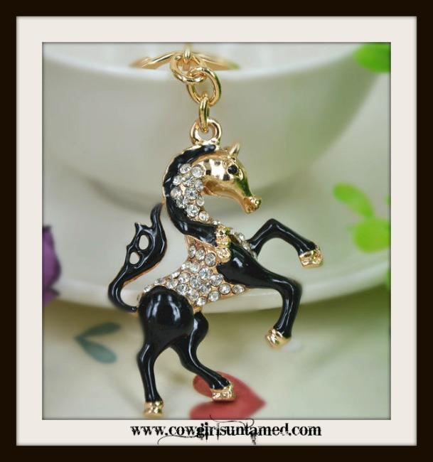 HORSE LOVIN' COWGIRL KEYCHAIN Beautiful Black Enamel and Golden Rhinestone Horse Keychain