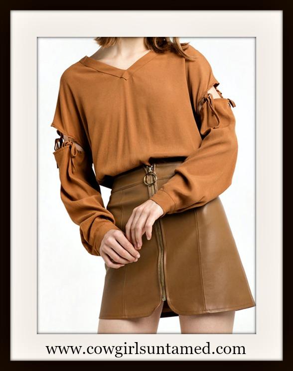 WILDFLOWER TOP Tie  Long Sleeve V Neck Khaki Loose Fit Boho Blouse