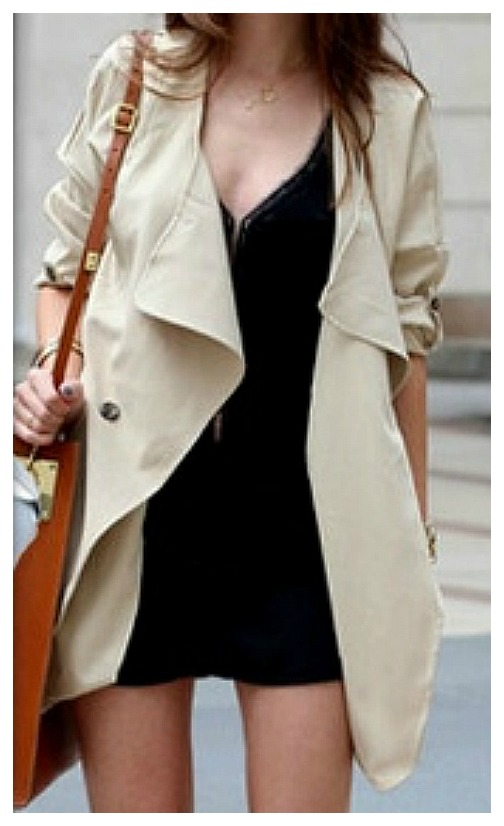 GOING GLAM COAT Khaki Open Flowy Trench Coat