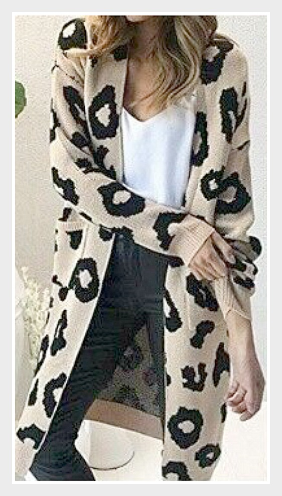 ON THE PROWL CARDI Beige and Black Leopard Knit Long Duster Open Cardigan  Misses & PLUS sizes