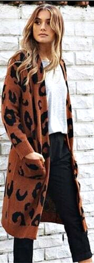 ON THE PROWL CARDI  Rust Brown Leopard Knit Long Duster Open Cardigan  LAST ONE  L/ XL