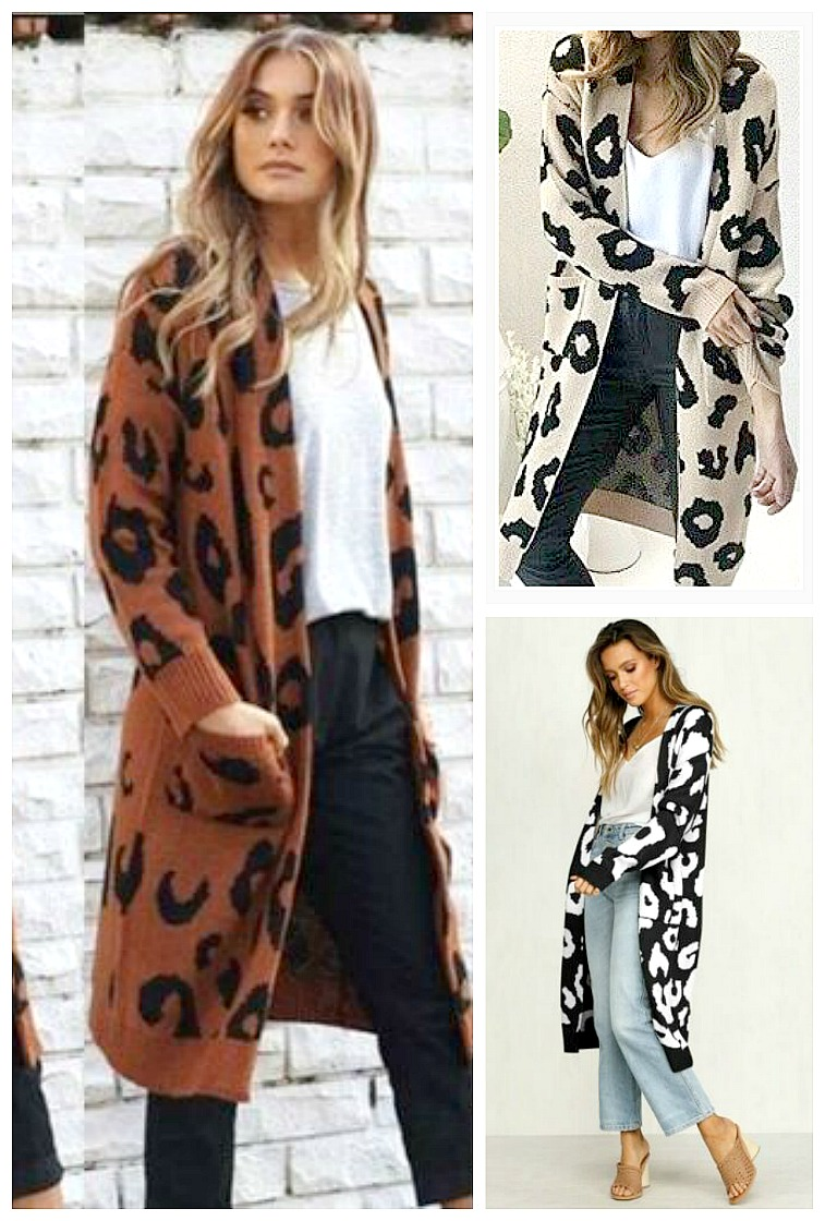 ON THE PROWL CARDI  Leopard Knit Long Duster Open Cardigan  Misses & PLUS sizes 3 COLORS