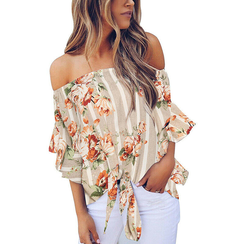 SWEET INTENTIONS TOP Khaki Stripe Pink Green Floral Off the Shoulder Tie Front Blouse S/M or M/L