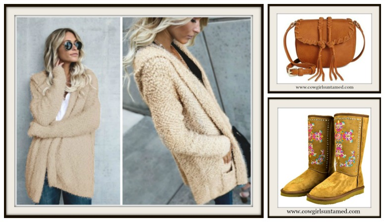 1da8e9a7a2 Embroidered Cross on Tan Fur Lined Winter Boots