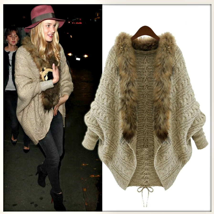 COWGIRL GYPSY SWEATER Khaki Lace Up Back Brown Fur Collar Cardigan Sweater