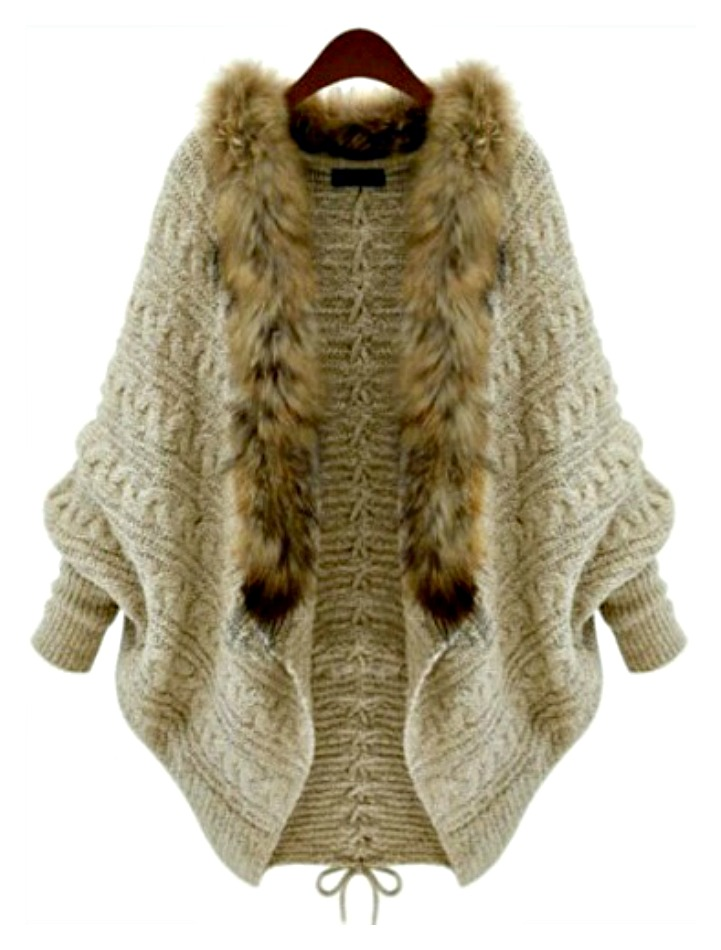 Khaki Lace Up Back Fur Collar Cardigan Sweater Khaki