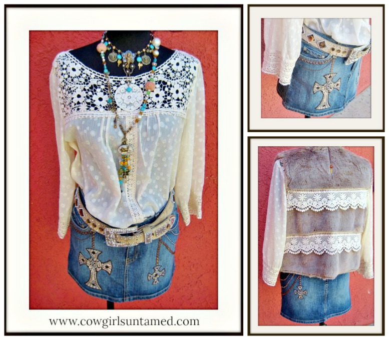 COWGIRL STYLE SKIRT Kippy's Swarovski Crystal and Leather Iron Cross & Details Denim Jean Designer Western Skirt