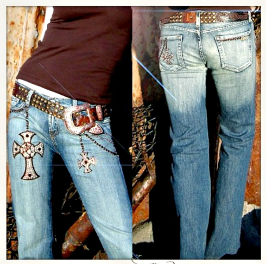 KIPPY'S JEANS Swarovski Crystal and Leather Iron Cross & Details Denim Jeans