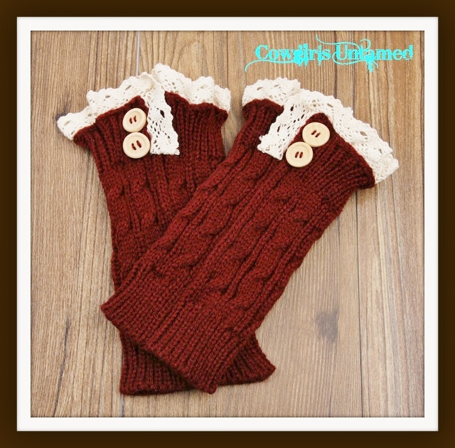 COWGIRL GYPSY BOOT GARTER Cream Crochet Lace Wood Button Boot Cuffs Leg Warmers 3 COLORS!