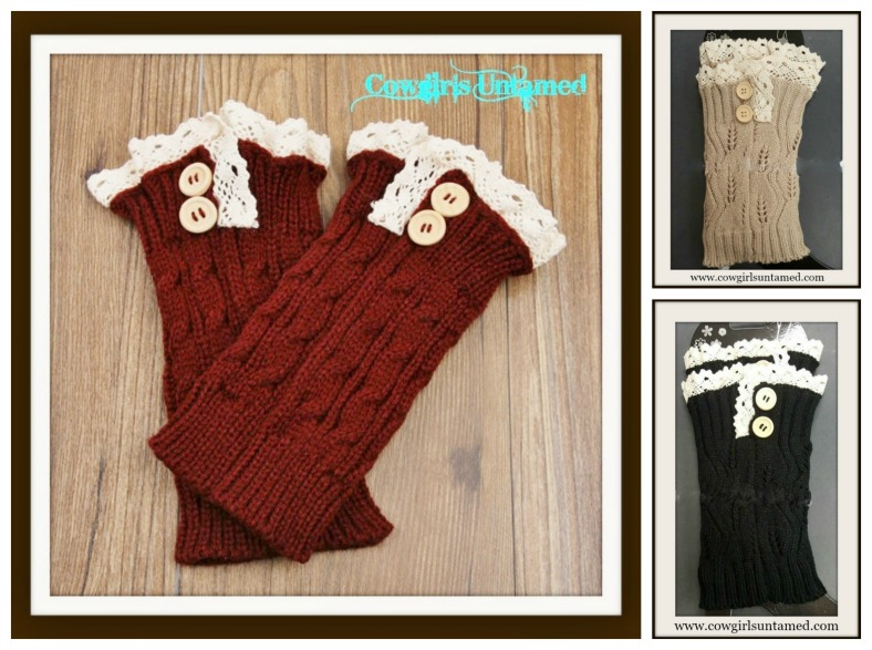COWGIRL GYPSY BOOT CUFF Cream Crochet Lace Wood Button Boot Cuffs Leg Warmers 3 COLORS!