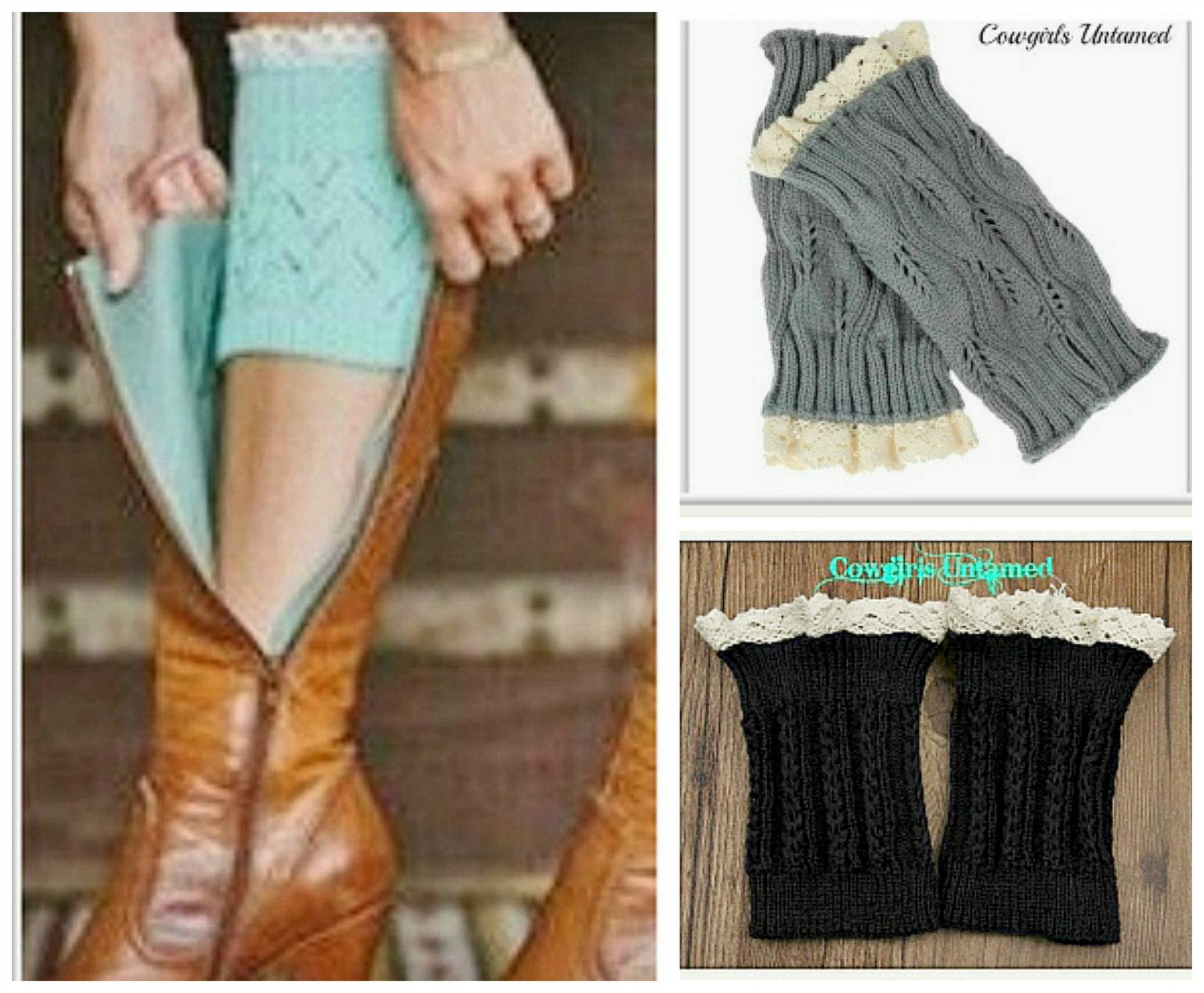 COWGIRL GYPSY BOOT GARTER Cream Crochet Lace  Boot Toppers Cuffs Leg Warmers