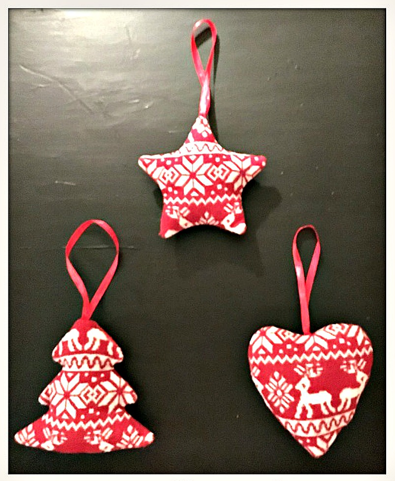 COWGIRL CHRISTMAS DECOR Handmade Red & Off White Knit Ornaments