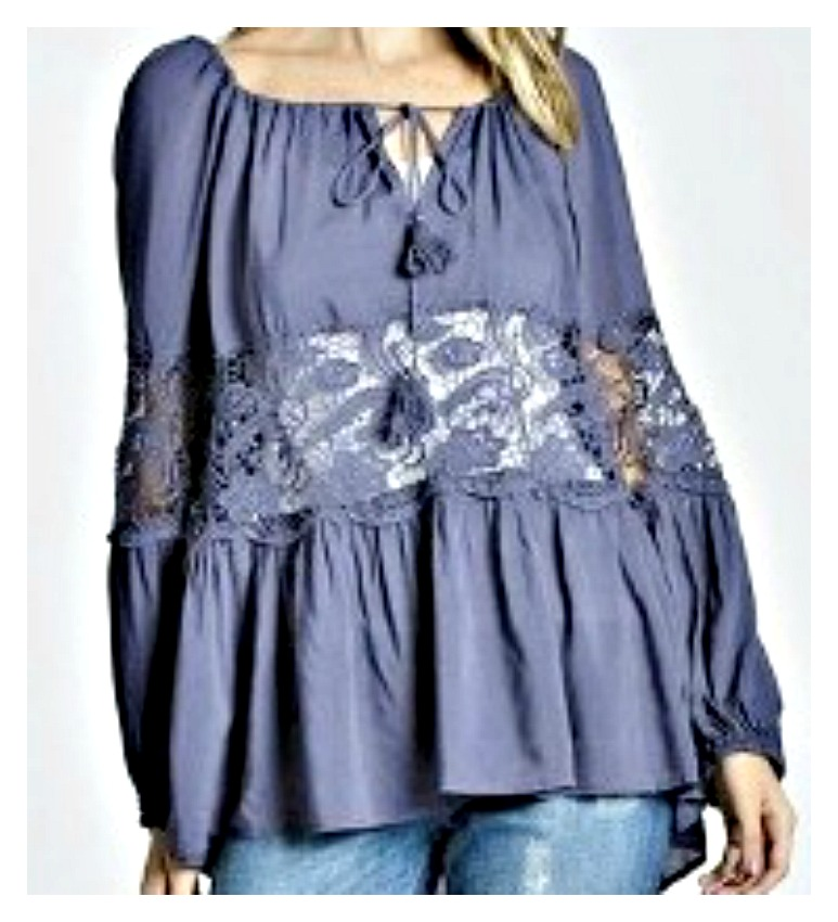 THE ELLIE TOP On or Off the Shoulder Sheer Lace Insert Navy Blue Boho Top