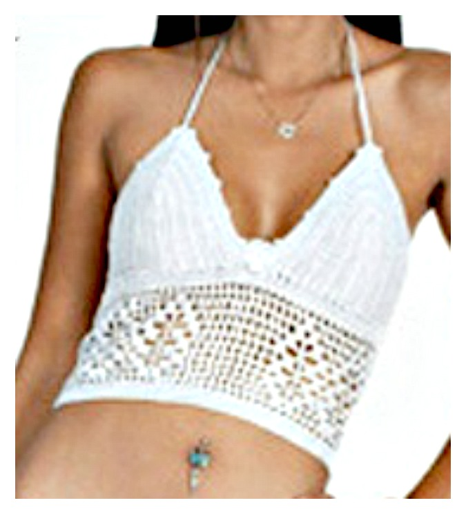 WILDFLOWER TOP White Lace Up Back Crochet Lace Padded Halter Top / Bikini Top