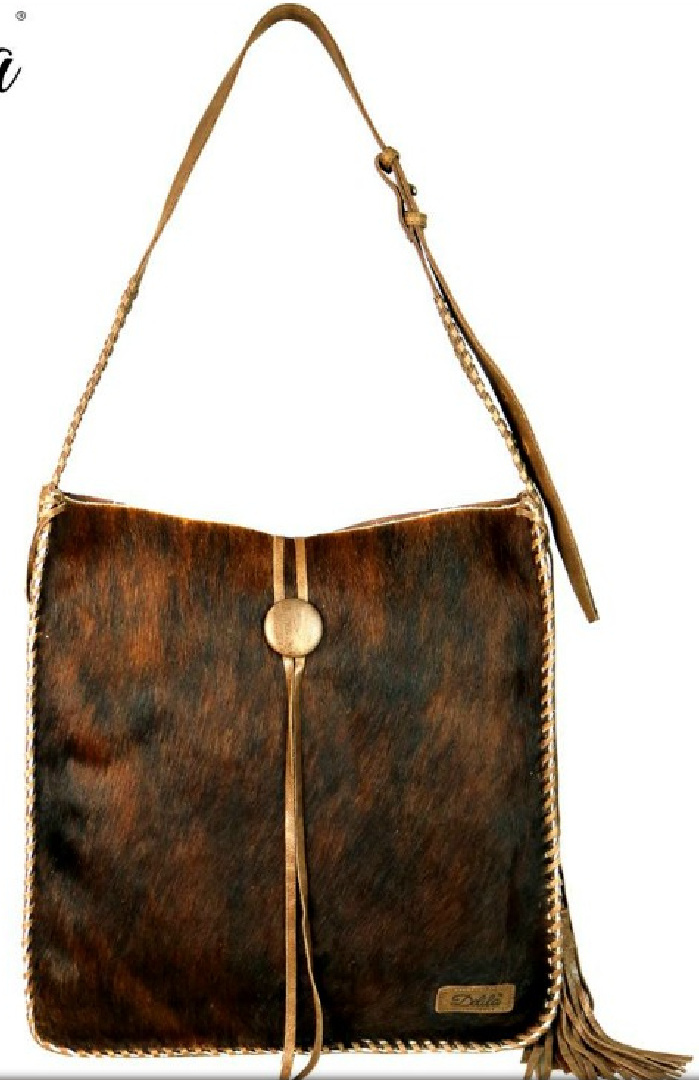 DELILA WESTERN TOTE 100% Genuine Brown Coffee Leather Hair-On Hide Cowhide Luxury Tote Purse