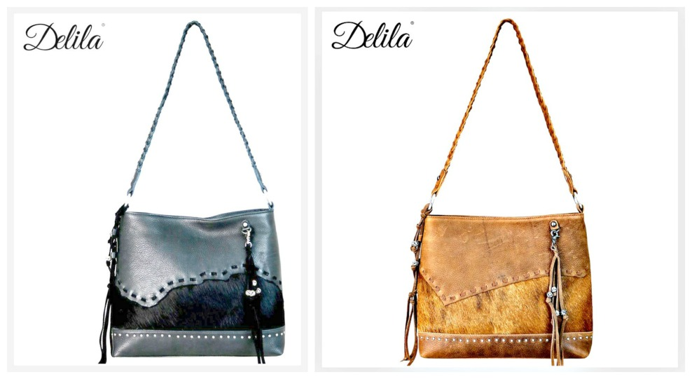 DELILA HOBO TOTE Genuine Hair on Hide Leather Silver Beaded Tassel Hobo Shoulder Bag 2 COLORS!