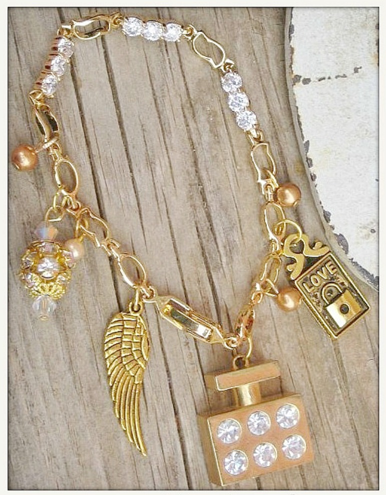 "TOUCH OF GLAM BRACELET ""Love"" Angel Wing Perfume Bottle Rhinestone N Pearl Gold Charm Western Bracelet"