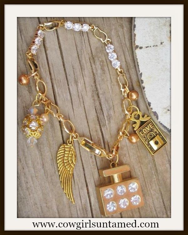 "COWGIRL GLAM BRACELET ""Love"" Angel Wing Perfume Bottle Rhinestone N Pearl Gold Charm Western Bracelet"