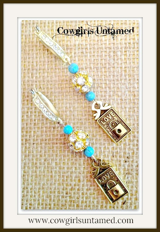 "COWGIRL STYLE EARRINGS Turquoise N' Rhinestones with ""LOVE"" Lock Charm on Golden Rhinestone Earrings"