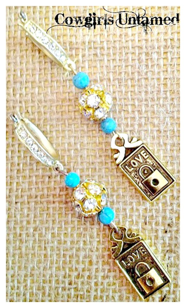 "ALWAYS LOVE EARRINGS Turquoise N' Rhinestones with ""LOVE"" Lock Charm on Golden Rhinestone Earrings"