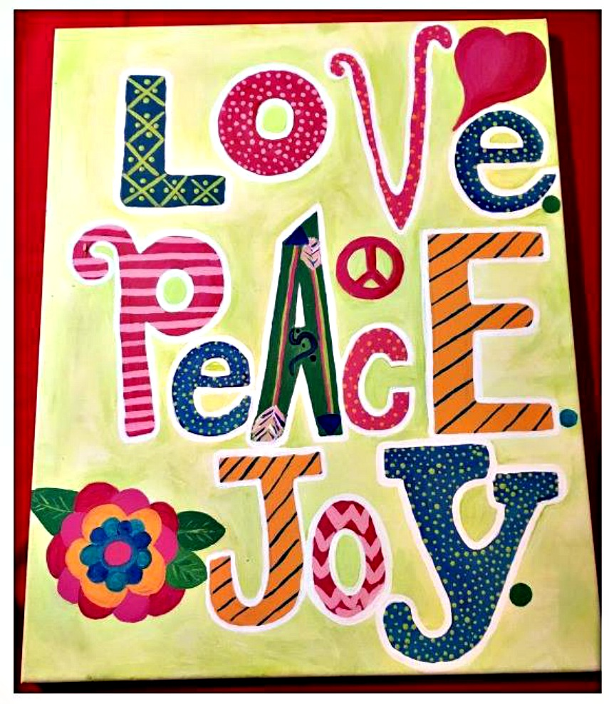 "BOHEMIAN COWGIRL PAINTING ""Love Peace Joy"" Mixed Pattern Heart Flower Peace Boho Hand Painted Canvas Wall Art 16 x 20"