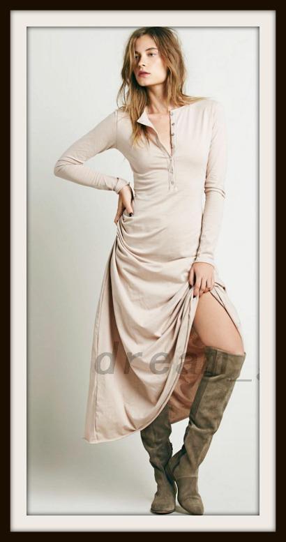BOHO CHIC DRESS Long Sleeve A-line Henley Style Beige Maxi Dress