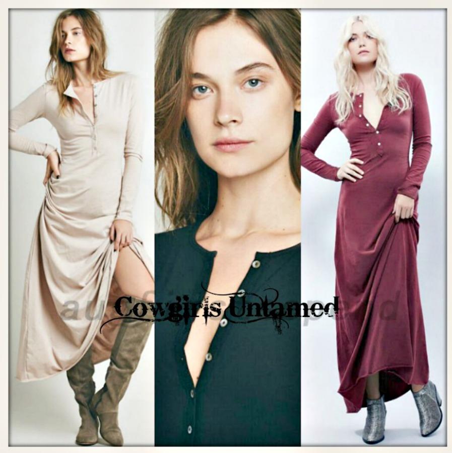 BOHO CHIC DRESS Long Sleeve A-line Henley Style Maxi Dress  3 COLORS!