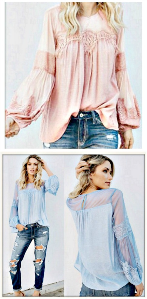 MAGNOLIAS BLOOM TOP Lace Cutout Pastel Long Sleeve Blouse  2 COLORS!!