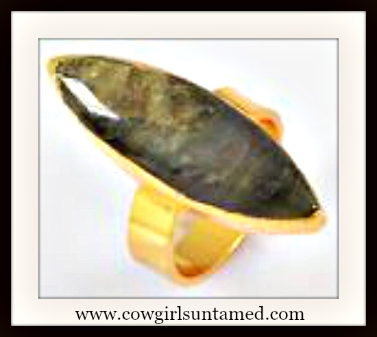 WESTERN COWGIRL RING Natural Green Labradorite Gemstone Adjustable Gold Plated Ring
