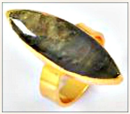 BOHO CHIC RING Natural Green Labradorite Gemstone Adjustable Gold Plated Ring