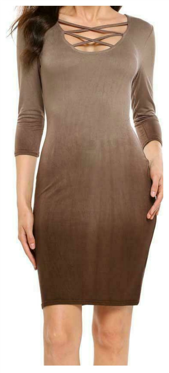THE CARLY DRESS Brown Lace Up Neckline Fitted Ombre Three Quarter Sleeve Mini Dress S-2X
