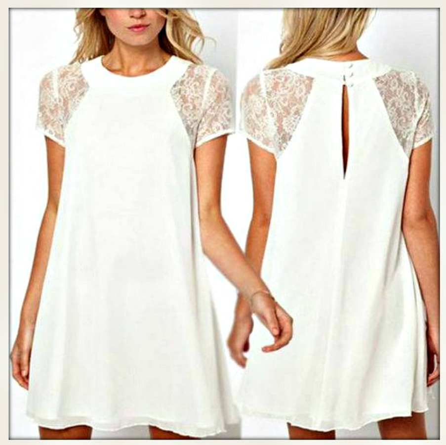 COWGIRL GYPSY DRESS Lace Cap Sleeve Chiffon Loose Fit Mini Dress Misses & Plus  4 COLORS